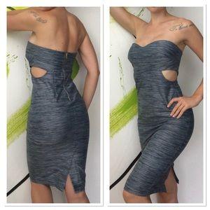 Bebe Strapless Cutout midi pencil bodycon dress